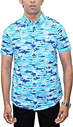 AA' Southbay Men's Sky Blue Shark Print 100% Cotton Half Sleeve Hawaiin Print Beach Wear Casual Shirt