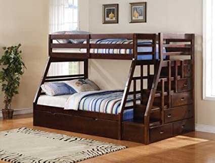Twin over full bunk beds with trundle and stairs