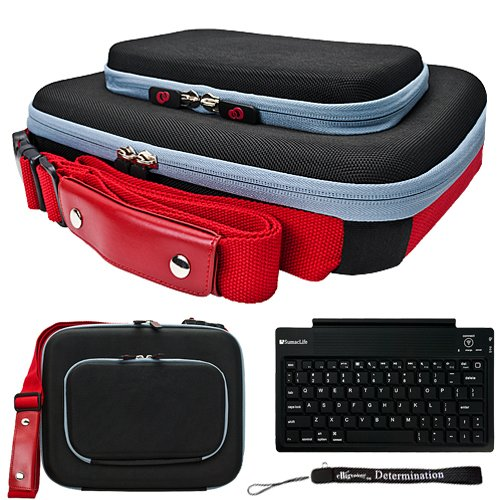 Black Red Ultimate Smart Travel Organizer Hard Nylon Durable Cover Carrying Cube Case For Asus Eee Pc 1000Hg Netbook Notebook 10.2 Inch Screen