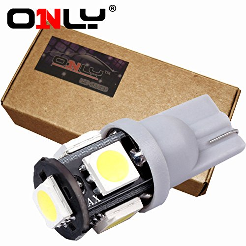 Only® 2014 Newest, 4Th Generation, 20Pcs ,W5W 194 168 2825 T10 Wedge 5-Smd 5050 White High Power Car Lights Bulb,Brighter,Green Energy, Lower Heat, Eco-Friendly,Better Quality,Longer Life (1 Package - 20Pcs)
