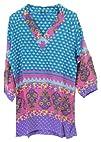 Tolani Nisha Silk Tunic Dress Top Turquoise