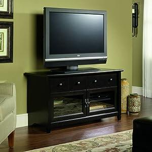 Amazon Com Sauder Edge Water Panel Tv Stand Estate Black