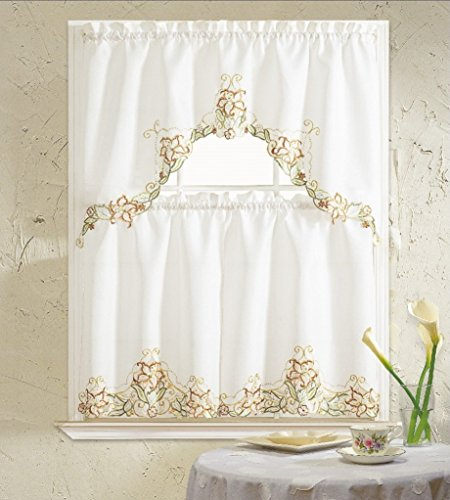 b h home floral embroidered 3 kitchen curtain