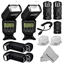 Altura Photo Professional Flash Kit (Studio Set) for NIKON DSLR Cameras D7100 D7000 D5300 D5200 D5100 D5000 D3300 D3200 D3100 - Includes: 2 Altura Photo I-TTL Auto-Focus Dedicated Speedlite Flashes + Wireless Camera Flash Trigger and Camera Remote Control Function (1 Transmitter, 2 Receivers) + Cable-M Cord for Remote Control + 2 Protective Pouches + 2 Hard Flash Diffusers + MagicFiber Microfiber