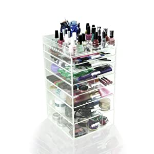 Acrylic Clear Makeup Cosmetic Case Cube Box 7 Drawers w/ All Dividers & Top Tray