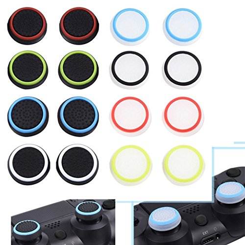 8 Pairs/16 PCS Silicone Luminous Analog Thumb Stick Caps Cover for PS4 PS3 PS2 Xbox One/360 Game Controller (Xbox One Controller Stick Covers compare prices)