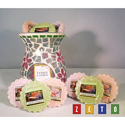 Yankee Candle - 9 Floral Wax Tarts Incl Pink Lady Slipper Garden Hideaway Butterfly Mosaic Wax Tart Burner by yankee candle/Bubbleush Divine Gifts