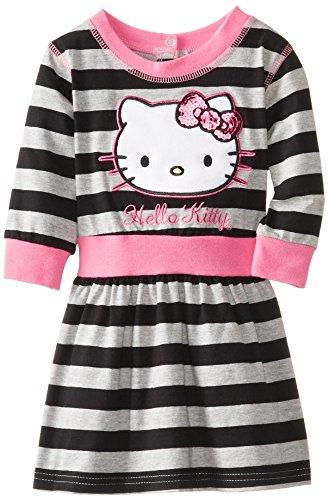 Hello Kitty Little Girls' Velvet Applique Stripe Dress, Heather Gray, 2T front-939708