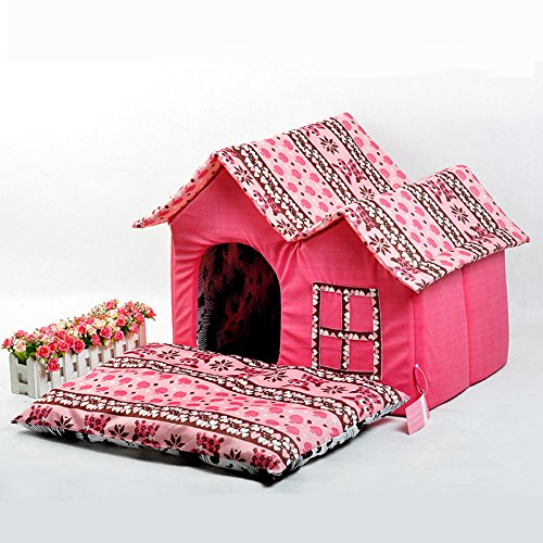 VIP small washable House Dog Kennel cat litters super soft POLY VELOUR bear dog house pet pet House , pink (Elevated Dog House compare prices)