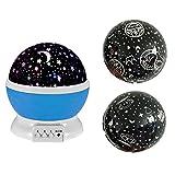Eizur 360° Rotierende Projektionslampe Beamerlampe LED Projektor Lampe Nachttischlampe Romantisch für Baby-Kinderzimmer Schlafzimmer Kinderzimmer Nachtlicht Einschlafhilfe Kinder USB / batteriebetrieben with 3 Deckel (Rosa / LIla / Blau)