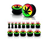 Piercing Boutique Acrylic Ganja Leaf Jamacia Ear Plug Flesh Tunnel Stretcher - 10MM