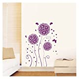 Purple Hydrangea Flowers Romantic Wall Art Stickers Decal for Home Room Decor Decoration