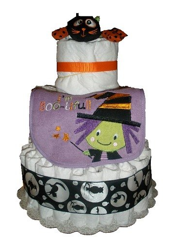 Halloween Witch Diaper Cake - Baby Shower Centerpiece Or Gift