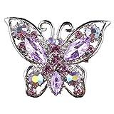 【ノーブランド品】紫色 結婚式の花嫁 ラインストーン 蝶のブローチピン 宝石類のギフト