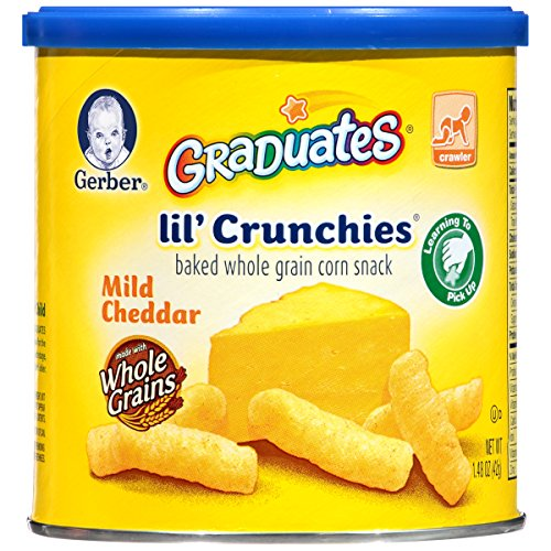 Gerber Graduates Lil' Crunchies, Mild Cheddar, 1.48-Ounce Canisters (Pack of 6) - 1