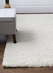 Ivory White Shag Rug, 4-Feet by 6-Feet, 4x6 Stain-Resistant Non-Shed Living Room Easy Care Carpet