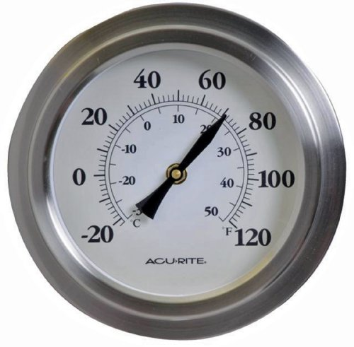 Chaney Instrument 8-Inch Brushed Nickel Porthole Thermometer