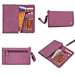 Imperial Purple Genuine Leather Women\'s Wristlet Clutch i-mobile IQ X Octo with Credit Card Holder & NextDIA Cable Tie