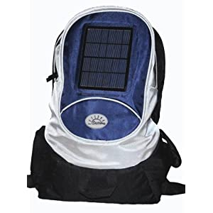 SunPlug Solar Charger Daypack, Blue Color Bag. A day pack that charges Cell Phones and MP3. 2.7 watt solar panel, 2200mAh rechargable battery.