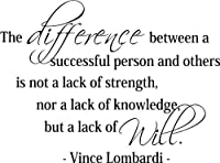 Vince Lombardi: The difference between a successful person and others is not a lack of strength, nor a lack of knowledge, but a lack of will.