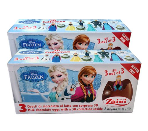 6 Eggs - Zaini Disney Frozen Chocolate Egg with Surprise 3d Toys Inside