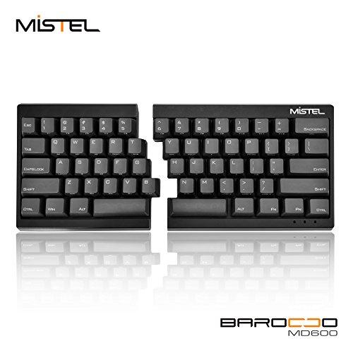 Mistel Barocco Ergonomic Split PBT Mechanical Keyboard with Cherry MX Brown Switches, Black