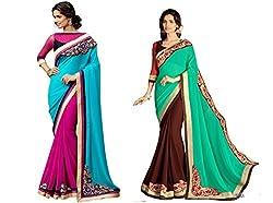 Pragya creations Women's Chiffon Saree (Prag43_Multi)-pack of 2
