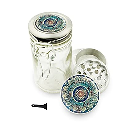 "Mandala 1.5"" Herb Grinder and Glass Jar Combo! 4 Part Aluminum Grinder & Wire Top Glass Stash Jar for Herbs Spice Herbal w/ Free Jar Labels Cute Blue"