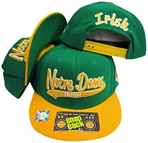 Notre Dame ND Fighting Irish Tail Script Green Yellow Two Tone Plastic Snapback... by Top of the World