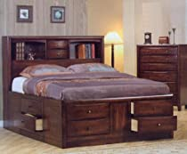 Big Sale Coaster King Size Bookcase Chest Bed in Brown Finish