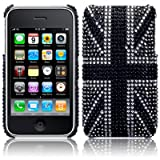 iPhone 3GS / 3G Black Union Jack Diamante Case / Cover / Shell / Shield Part Of The Qubits Accessories Rangeby Qubits