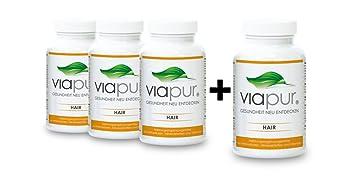 viapur® HAIR, Aminosäuren, Mineralstoffe und Vitamine, 3 Dosen + 1 Dose Gratis, ausreichend fur 4 Monate