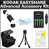 Essential Accessories Bundle Kit For Kodak EasyShare Max Z990, Z5010, Z5120, Digital Camera Includes USB 2.0 High Speed Card Reader + 4 AA High Capacity Rechargeable NIMH Batteries And AC/DC Rapid Charger + Carrying Case + LCD Screen Protectors + More