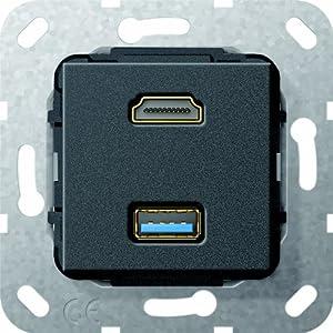 Gira 567810 HDMI, USB 3.0 A Gender Changer Einsatz, schwarz matt  BaumarktRezension