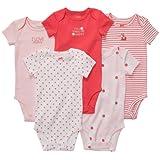 Carters Baby Girls 5 Pack Short Sleeve Bodysuit Set (6 Months, Coral Multi)