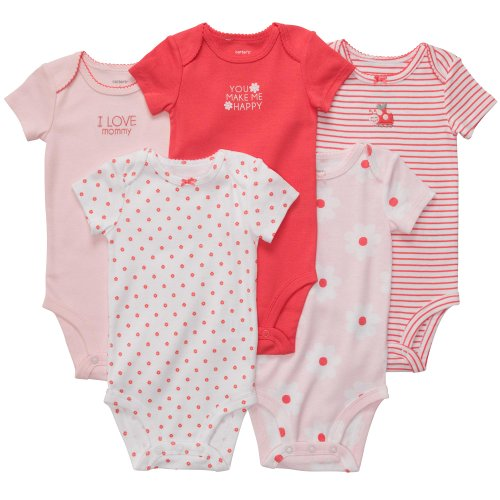 Carter'S Baby Girls' 5-Pack S/S Bodysuits - Pink/Poppy - 9 Months front-462091