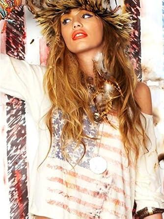 Lauren Moshi Womens Barbie Flag Crop Tee - White Rust - Extra Small