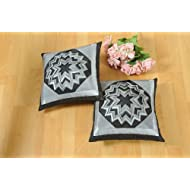 Shahenaz Home Shop Kyrah Surface Saga Poly Dupion Cushion Cover - Black And Grey