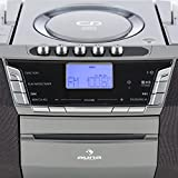 auna-Jetpack-Boombox-digitales-MP3-CD-Radio-Kassettenrekorder-Kchenradio-mit-USB-CD-MP3-Player-Kassette-UKW-Radio-Uhr-Anzeige-Batterie-und-Netz-Betrieb-tragbar-silber-grau