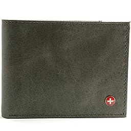 Alpine Swiss Men\'s Genuine Leather Wallet Slim Flip-out Bifold Grey