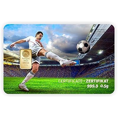 Goldbarren Geschenkkarte 0,5 g 0,5g Gramm Feingold 999.9 Nadir Gold Sport Fussball