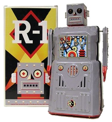 R-1 Robot - Battery Operated Tin Metal Robot W/ Bump'N Go Action From Rocket Usa * Robot One *