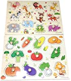 【KUENTAI】木製パズル 子供 知育玩具 数字・図形・果物・野菜・動物・×数字 アルファベット カラフル プレゼントにも おもちゃ キッズ 赤ちゃん (動物&野菜)