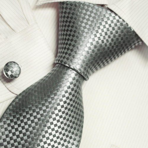 Grey Checkers Men Neck Ties Silver Boyfriend Presents Accessories Ties Cuff Links Set A2024