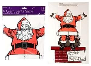 """4 PACK GIANT CHRISTMAS SACKS 30"""" X 20"""""""
