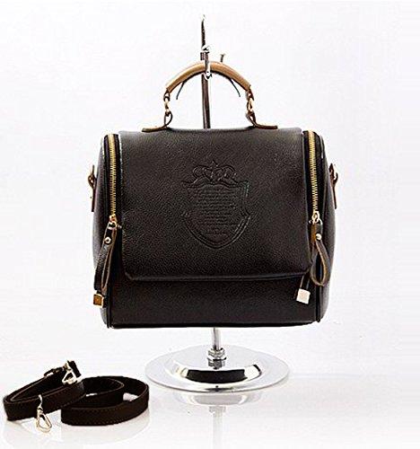 Lmeno Borsa delle donne Borsa Retro borsa spalla britannico Borsa in pelle Borsa cartella di modo del Messaggero della Traversa dell'annata Corpo Cartella Regolabili Removibile 24.5 * 21 * 14 cm--Nero