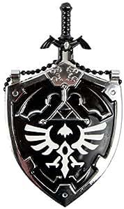 Legend of Zelda Master Sword Letter Opener and Hylian Shield Necklace (Black)