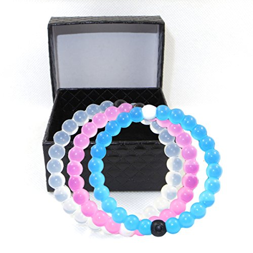 7th Element Silicone Beaded Bracelet Bangle Mud From Dead Sea Water From Mt Everest (Medium, 1 Blue + 1 White + 1 Pink)