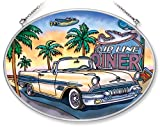 Amia Hand Painted Glass Suncatcher with 19 Pontiac Bonneville Design, 5-1/4-Inch by 7-Inch Oval