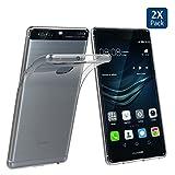 Huawei P9 Plus 透明ケース 【2枚セット】 5.5インチ用 P9 Plusカバー Simpeak ソフトクリアTPU & クリスタルシリコン 96%透過性 保護キャップ 落下防止指紋防止 一体型